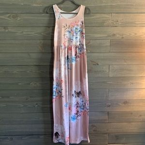 Beige Floral Maxi Dress with Pockets M